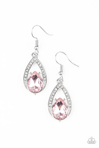 Gatsby Grandeur - Silver Earring with Pink Teardrop Crystal - Social Bling Queen