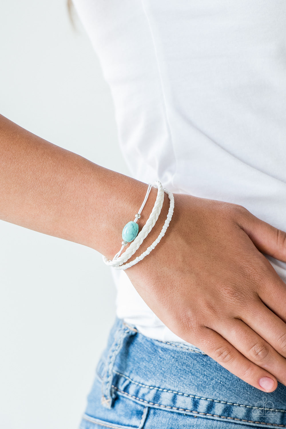 Weekend Wanderer - White Leather with White Beads and a Center Turquoise Stone
