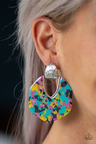 My Animal Spirit - Silver Post Acrylic Earrings with Multi color marble finish