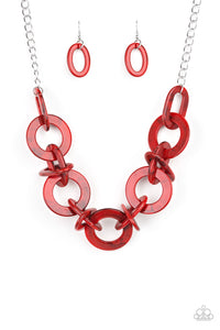 Chromatic Charm - Red Acrylic Chain Necklace