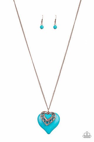 Southern Heart - Copper Necklace with Turquoise Heart Shaped Stone - Social Bling Queen