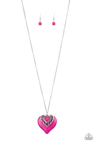 Southern Heart - Silver Necklace with Pink Crackle Heart & Silver Heart - Social Bling Queen