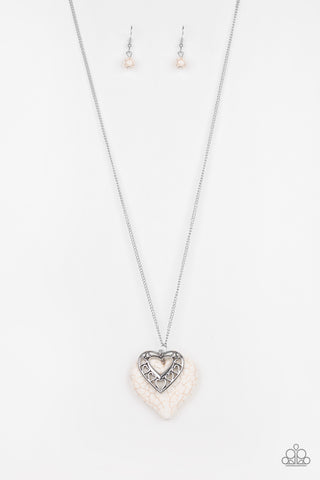 Southern Heart - White Crackle Heart Necklace - Social Bling Queen
