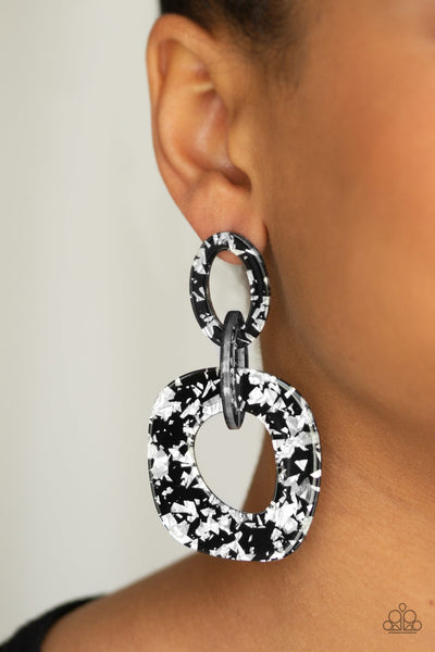 Confetti Congo - Black & Silver Acrylic Earrings