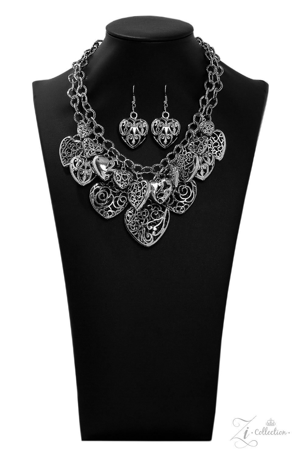 Cherish - Silver Layers with Filigree Heart Charms Necklace - 2019 Zi Collection