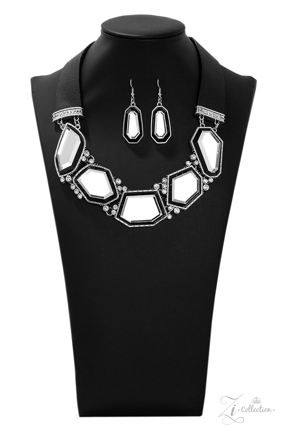 Rivalry - Black Leather Straps holding Mirror-Like Geometric Gems Necklace - 2019 Zi Collection