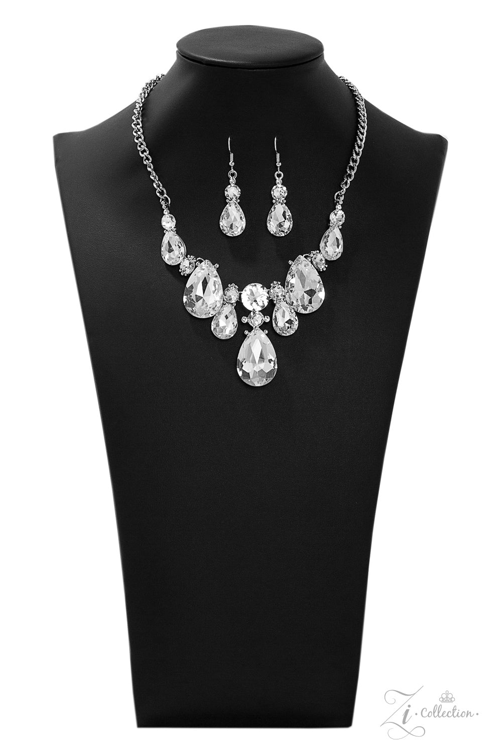 Reign - Silver with Teardrop Rhinestones Necklace - 2019 Zi Collection