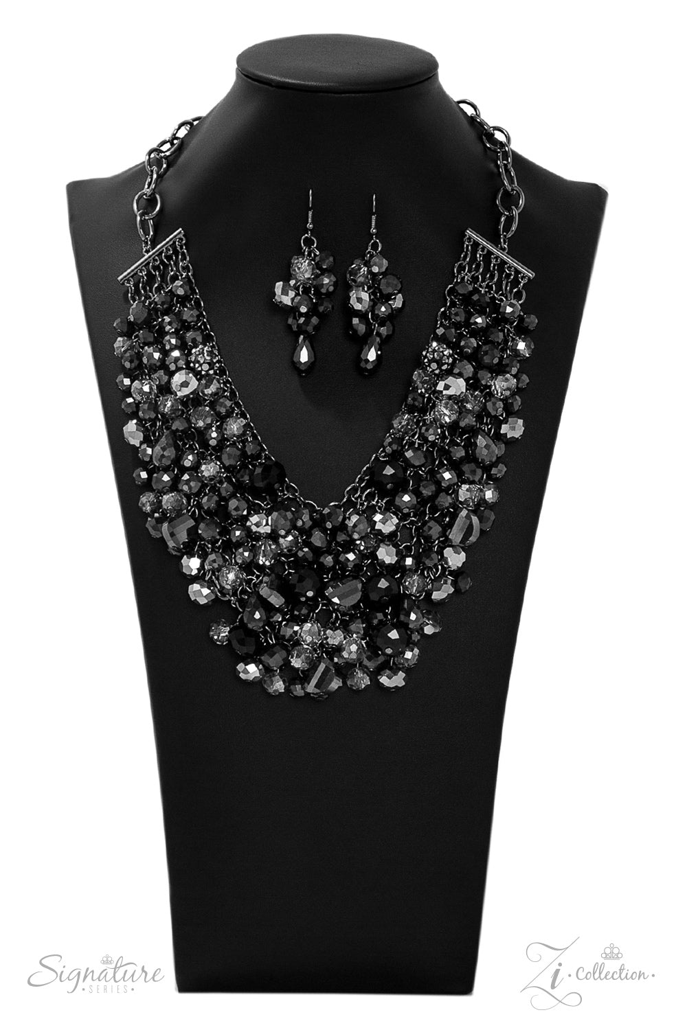 The Taylerlee - Gunmetal with Hematite & Smoky Faceted Crystals Necklace - 2019 Zi Collection
