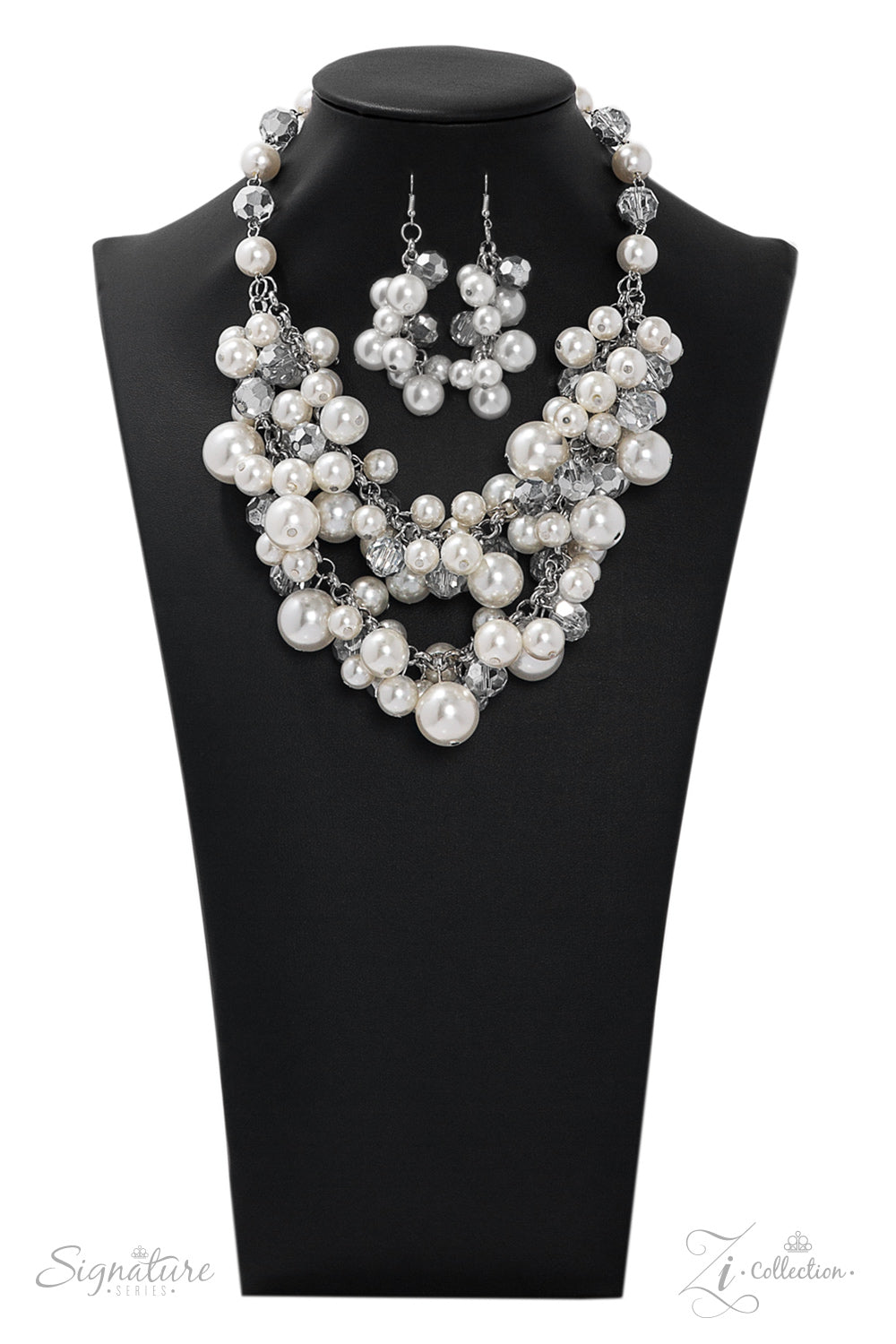 The Lauren - Silver with Layers of Pearls and Crystals Necklace - 2019 Zi Collection