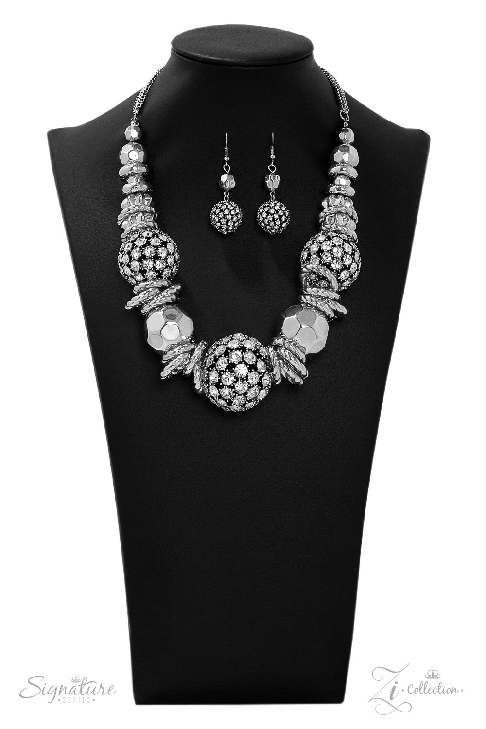 The Barbara - Silver with Rhinestone Encrusted Large Beads - 2019 Zi Collection