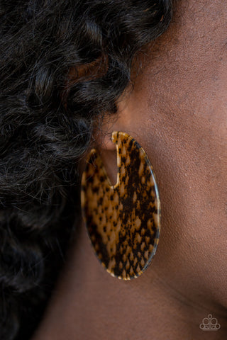 Hit Or HISS - Multi Brown Tortoise Shell Acrylic Earrings