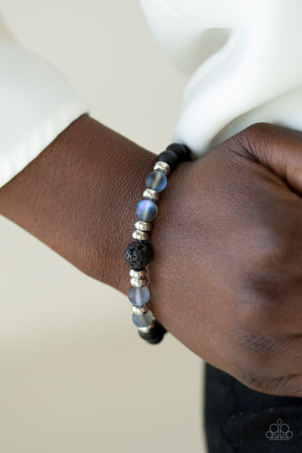 Grace - Black Lava Beads with Iridescent Blue Beads Bracelet