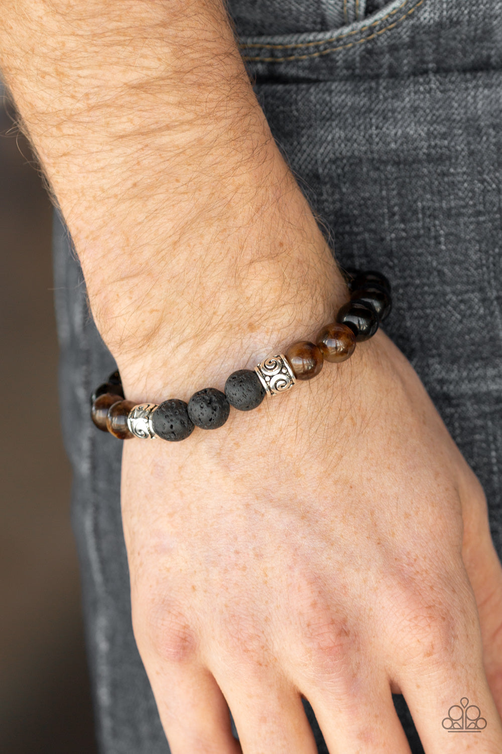 Mantra - Black Shiny Beads with Brown Cat's Eye Beads & Lava Beads Bracelet