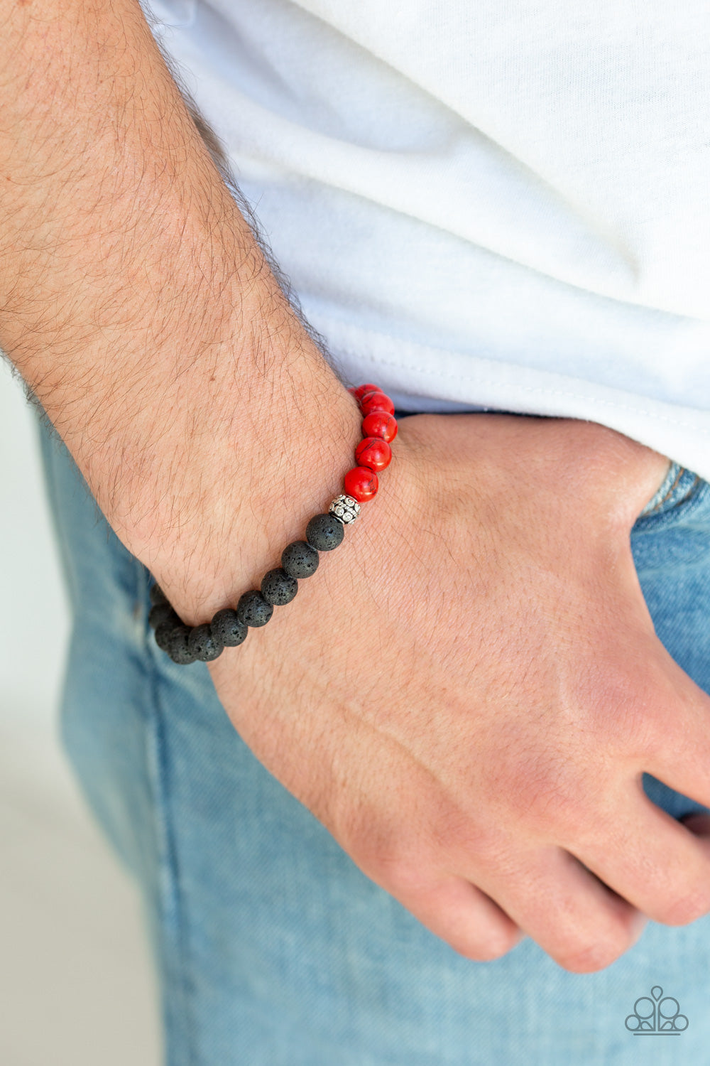 Fortune - Red Beads and Black Lava Beads Bracelet