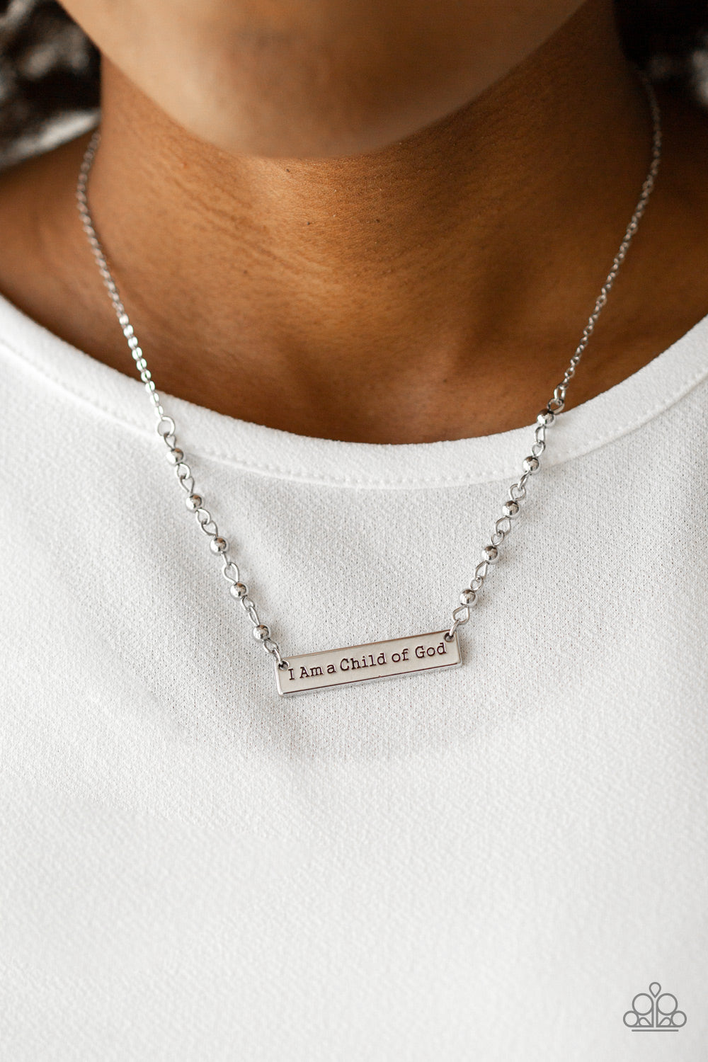 """Send Me An Angel - Silver """"I am a Child of God"""" printed Necklace & Earrings"""