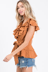 Rust Ruffled Top
