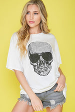 Load image into Gallery viewer, Rhinestone Skull Tee
