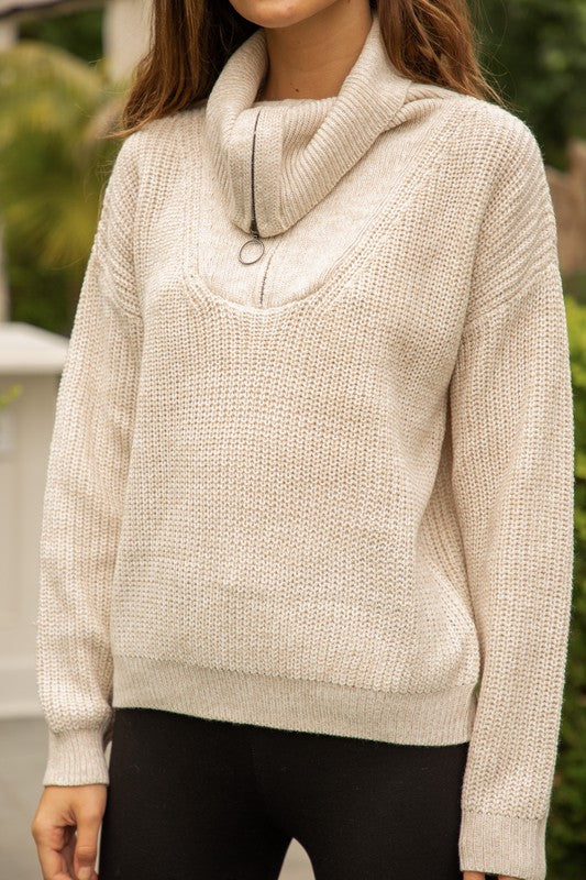 Zip Up Taupe Sweater