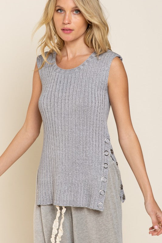 Button Sleeveless Sweater