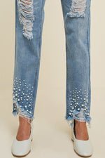 Load image into Gallery viewer, Distressed Pearl Jeans