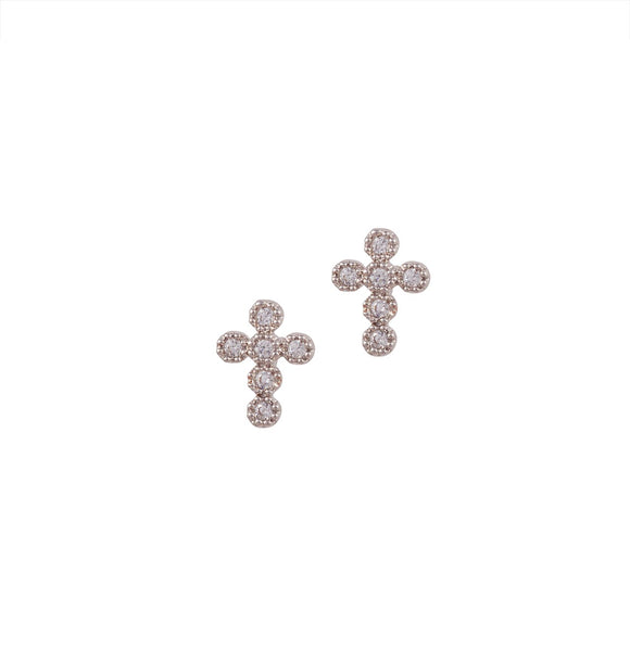 Cross Pave Studs- Silver