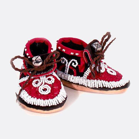 Sosan Montour Red Lazy Stitch Moccasin Sosan Montour Red Lazy Stitch Moccasin