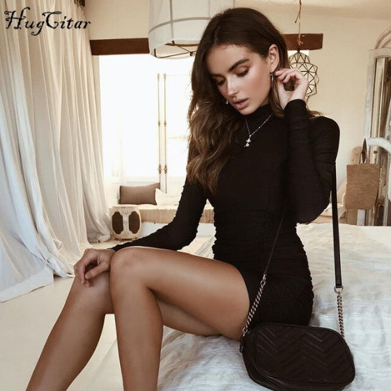 Satin Long Sleeve High Neck High Waist