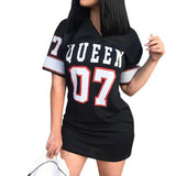 Fashion Queen Letters Print Women Sexy Bodycon Mini Dress