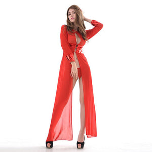Passionate Hot Woman Red Chiffon Long Sleeve Sexy Lace Lingerie Pajamas Set