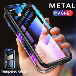 Magnetic Case w/ Tempered Glass Back (IPhone Only)