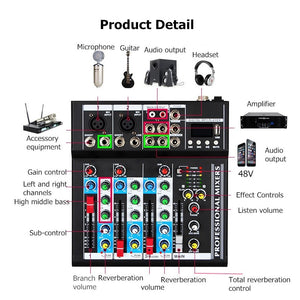 4 Channel Mini Mixing Console Bluetooth DJ Mixer Controller