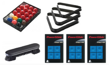 Load image into Gallery viewer, Snooker Balls / Snooker Triangle / Table Brush & 12x Blue Chalk - Triple DDD Sports Ltd