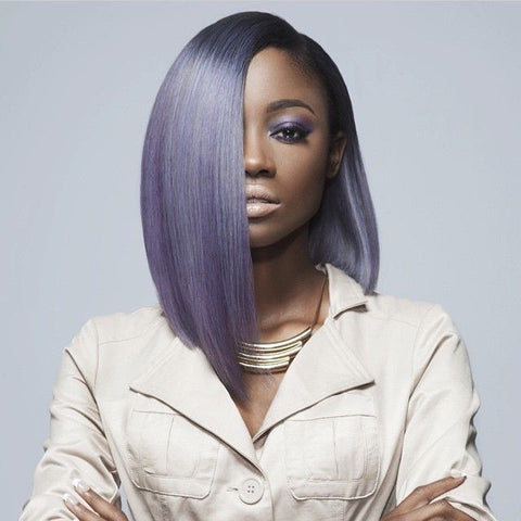 A straight long bob extensions in purple perfect for any shape of a face!