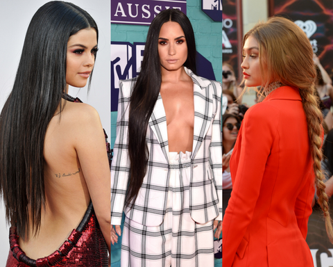 Celebrities wearing a long and silky straight hair extensions!