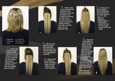 Instructions on how to put on Clip-In Extensions