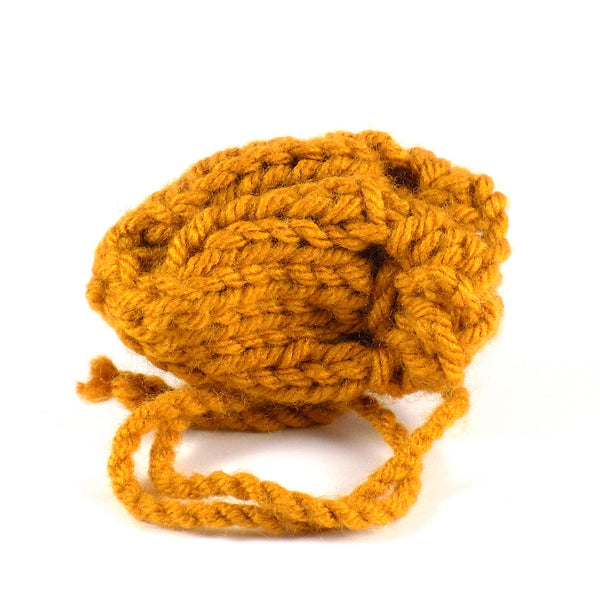 Yellow Knit Charm Bag Crystal Herb