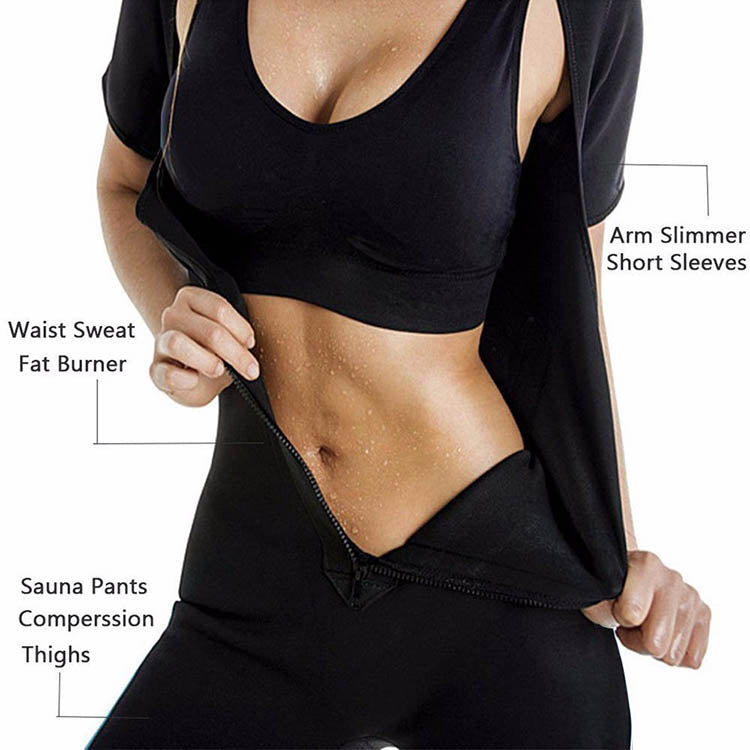 Women Shaping Open-Bust Half Sleeve Bodysuit Shaper Zip Closure