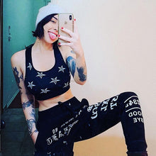 Load image into Gallery viewer, InstaHot Black Gothic Punk Letter Printed Legging Tapered Carrot Pants 5%Spandex Streetwear Women  Cotton Jogger Casual Trousers