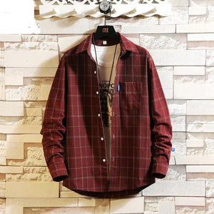 Streetwear Japanese Korean Social Shirts Men Red Winter Brand Cotton Blouses Male Fashion Autumn Long Sleeve Plaid Casual Shirt
