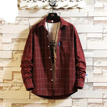 Load image into Gallery viewer, Streetwear Japanese Korean Social Shirts Men Red Winter Brand Cotton Blouses Male Fashion Autumn Long Sleeve Plaid Casual Shirt