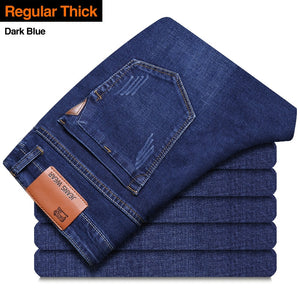 Brother Wang Classic style Men Brand Jeans Business Casual Stretch Slim Denim Pants Light Blue Black Trousers Male