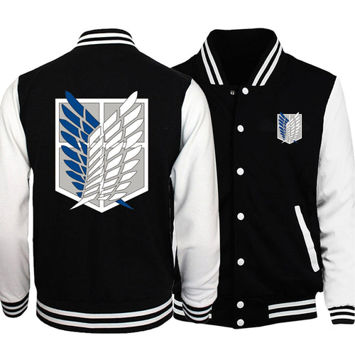 Attack on Titan College style Baseball Jacket Wings Of Freedom Coat Anime Tracksuit Men Bomber Jacket Winter Japanese Streetwear