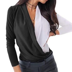 Women Office Lady Tops And Blouses V-Neck Long Sleeve Womens Clothes Plus Size Shirt Streetwear Blouse Femme