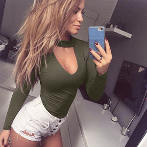 Women Bodysuit Choker Romper Deep V Neck Bodycon Body Suit One Piece Fitness Overalls body mujer clothes suit Long Sleeve