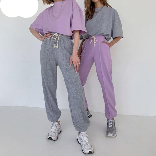 InstaHot Women Sweatpant Cotton Drawstring Solid Gray Purple Basic Trousers Soft Jogger Loose Female Pantalones 2020 Leisure