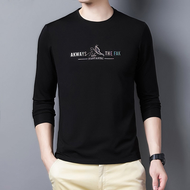 2020 Autumn New Men's Youth Casual Long Sleeve T-shirt High Quality Slim-fit Print Trendy T-shirt Male Brand Clothes