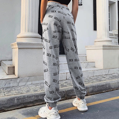 InstaHot sweatpant women sexy letter printed summer 2020 trousers cotton high waist elastic cargo pants casual streetwear jogger