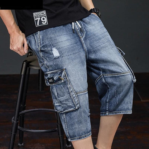 2020 Summer New Men Jeans Cargo Shorts Fashion Casual Elasticated Waist Stretch Big Pocket Cropped Jean Male Brand