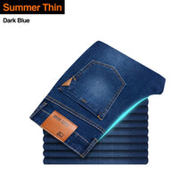 Load image into Gallery viewer, Brother Wang Classic style Men Brand Jeans Business Casual Stretch Slim Denim Pants Light Blue Black Trousers Male