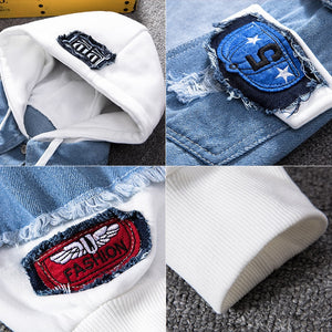 New Mens Denim Jacket Hooded Trendy Fashion Hip Hop Streetwer Ripped Denim Jacket Men Jeans Jacket Cowboy Coats Man Clothing